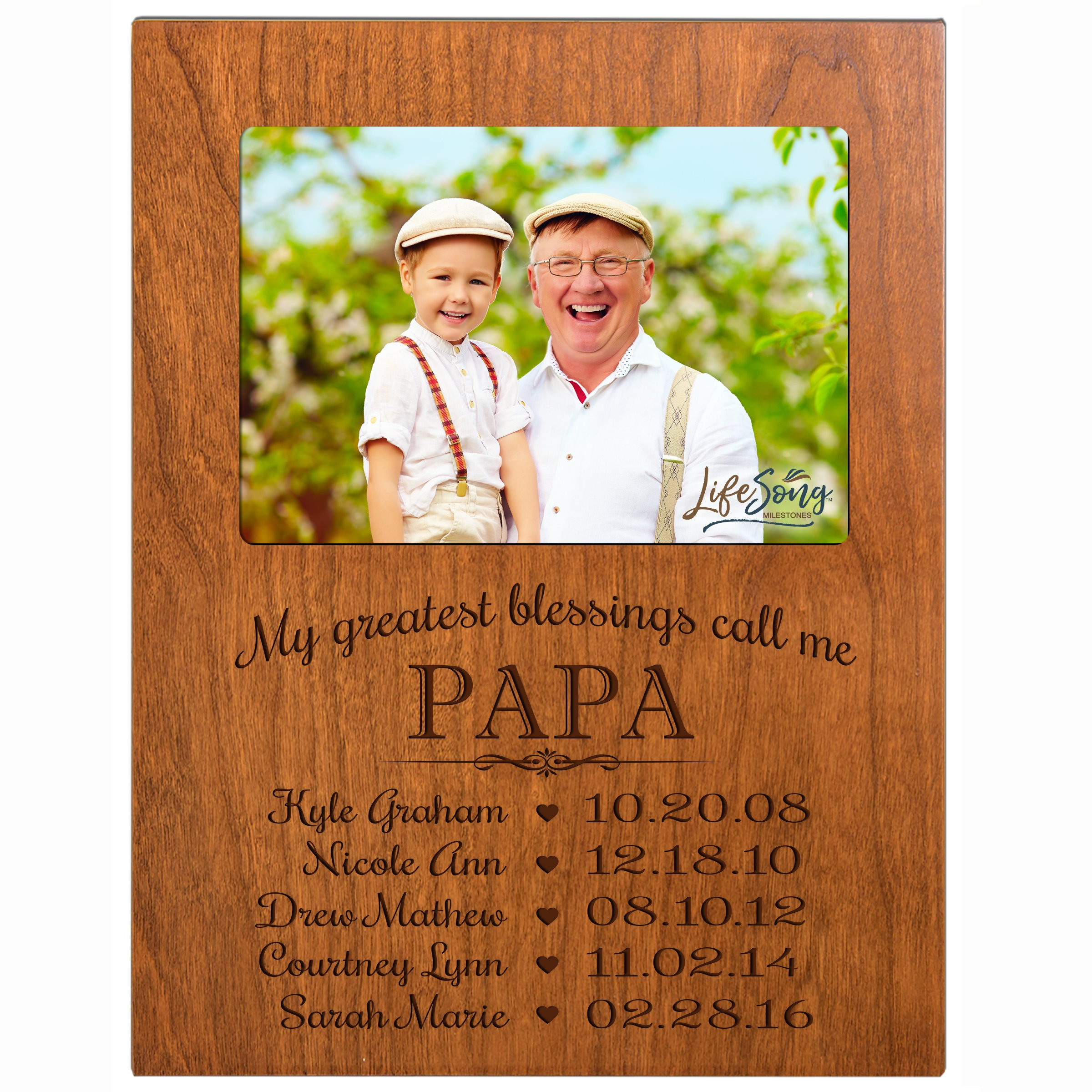 LifeSong Milestones Personalized Gift for Papa Picture Frame with Children's Names and Kid's Birth Date Special Dates My Greatest Blessings Call me Papa Holds 4x6 Photo (Cherry)