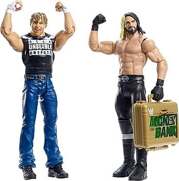 Mattel - WWE Lucha libre - Battle Pack Serie 36 - Dean Ambrose y Seth Rollins con ORO maletín: Amazon.es: Juguetes y juegos