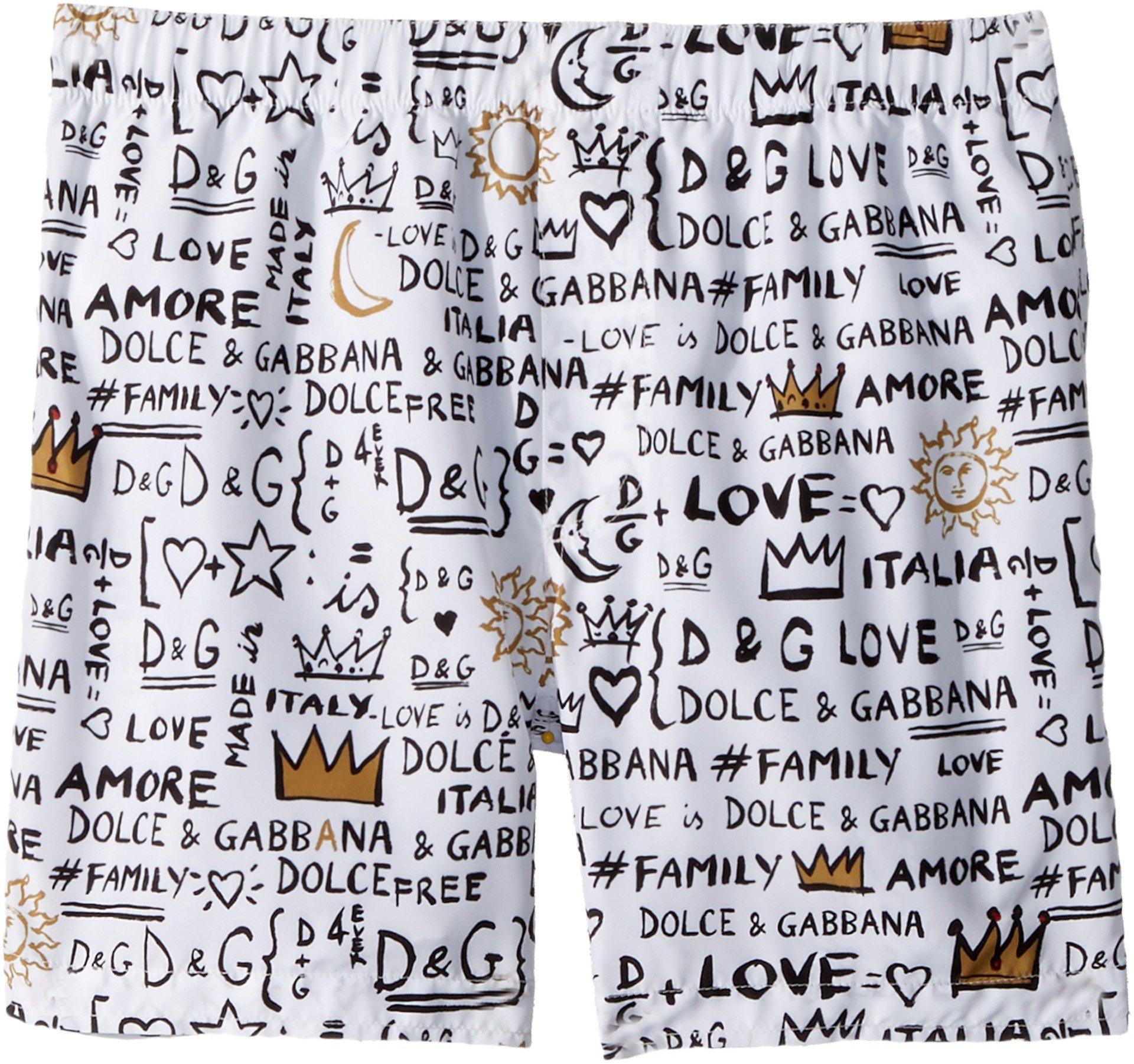 Dolce & Gabbana Kids Boy's Regular Boxer (Big Kids) White Print 8