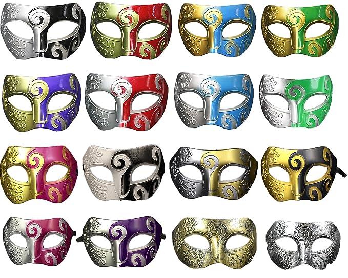 dc70a5c967f4c Amazon.com: Multiple Colors Retro Masquerade Mask Mardi Gras Costume Party  Accessory(pack of 16): Clothing