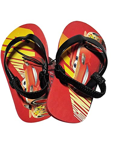5e5156269e9f Cars 3 Disney Toddler Little Boy Flip Flops Red Black Lightning McQueen  (Large (9