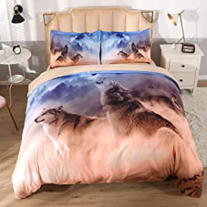 KINBEDY Wolf in Desert and Forest, Colorful Animal Theme Digital Bedding for Boys and Girls, 4 Piece Blue and White Duvet Cover Set Queen Size.