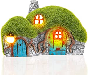 Outdoor Figurine Lights Garden House Statue - Outdoor Statues with Solar Lights Garden Cottage Lighting Figurines for Home or Yard Decor
