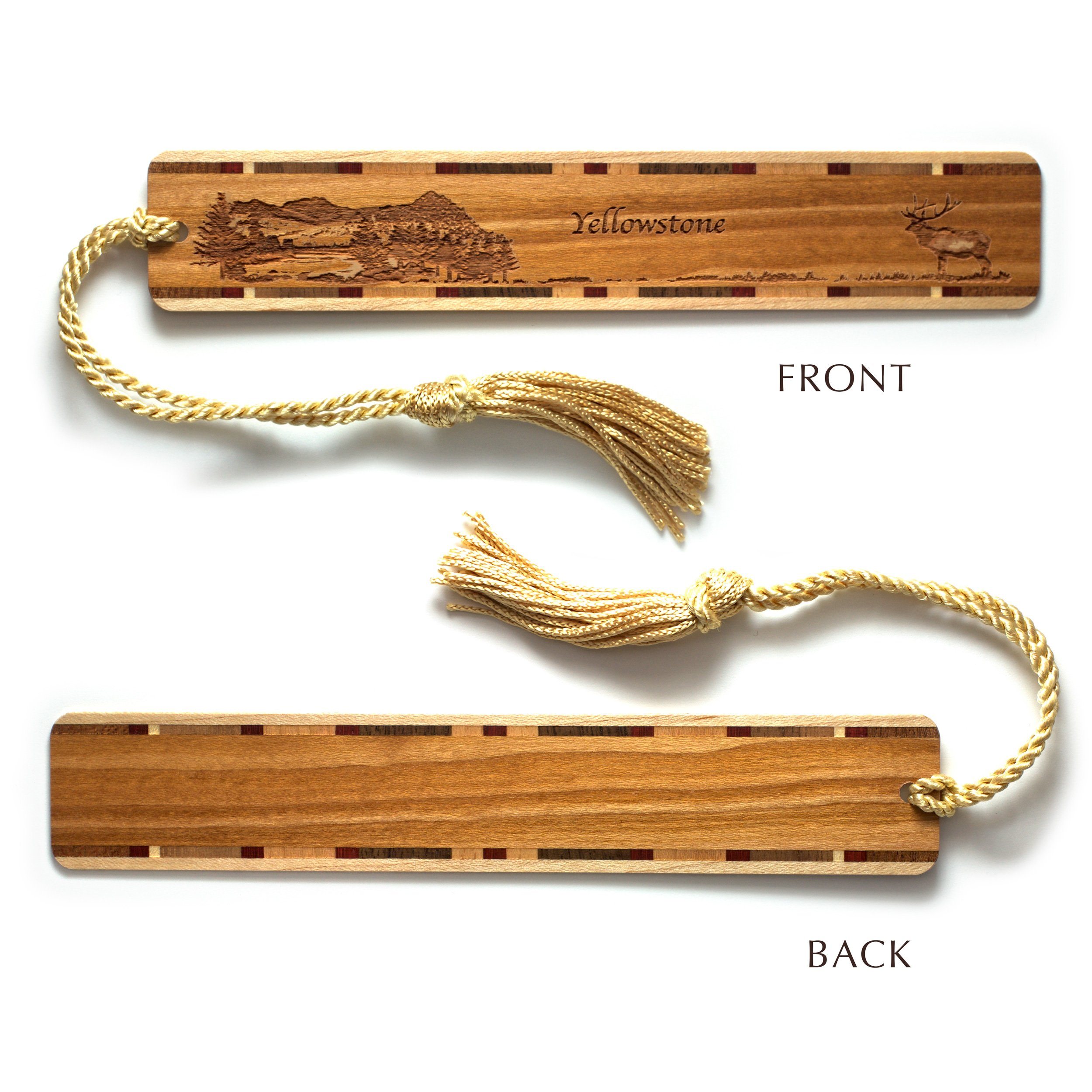 Mitercraft Engraved Wooden Bookmark - Yellowstone National Park, Wyoming with Tassel - Search B076VW33V3 to See Personalized Version. by Mitercraft (Image #2)
