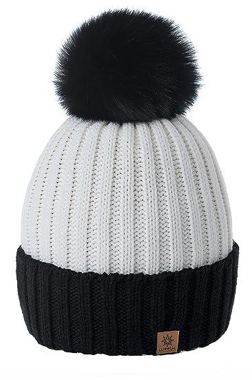 Romens Ltd Gorro Beanie De Invierno para Mujer Hombre Pompón de Estilo Esquí y Snowboard (Black Beige): Amazon.es: Ropa y accesorios