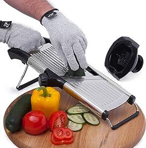 Mandoline Slicer with Cut-Resistant Gloves and Blade Guard – Adjustable Mandolin Vegetable Slicer and French Fry Cutter, Food Slicer, Vegetable Julienne – Thick Sharp Stainless Steel Blades