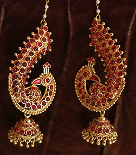 Nak S One Gram Gold Ruby Peacock Jhumka Ear Cuff Style Earring