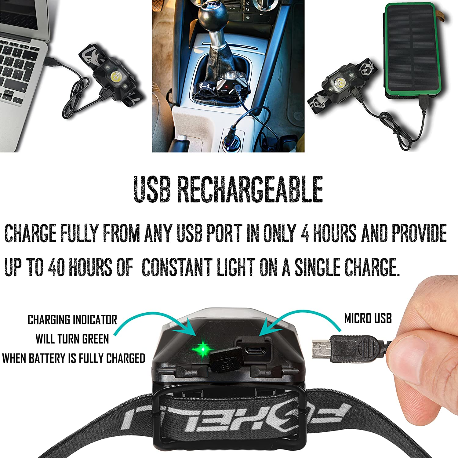 180 Lumen Foxelli 2-Pack USB Rechargeable Headlamp Flashlight up to 40 Hours