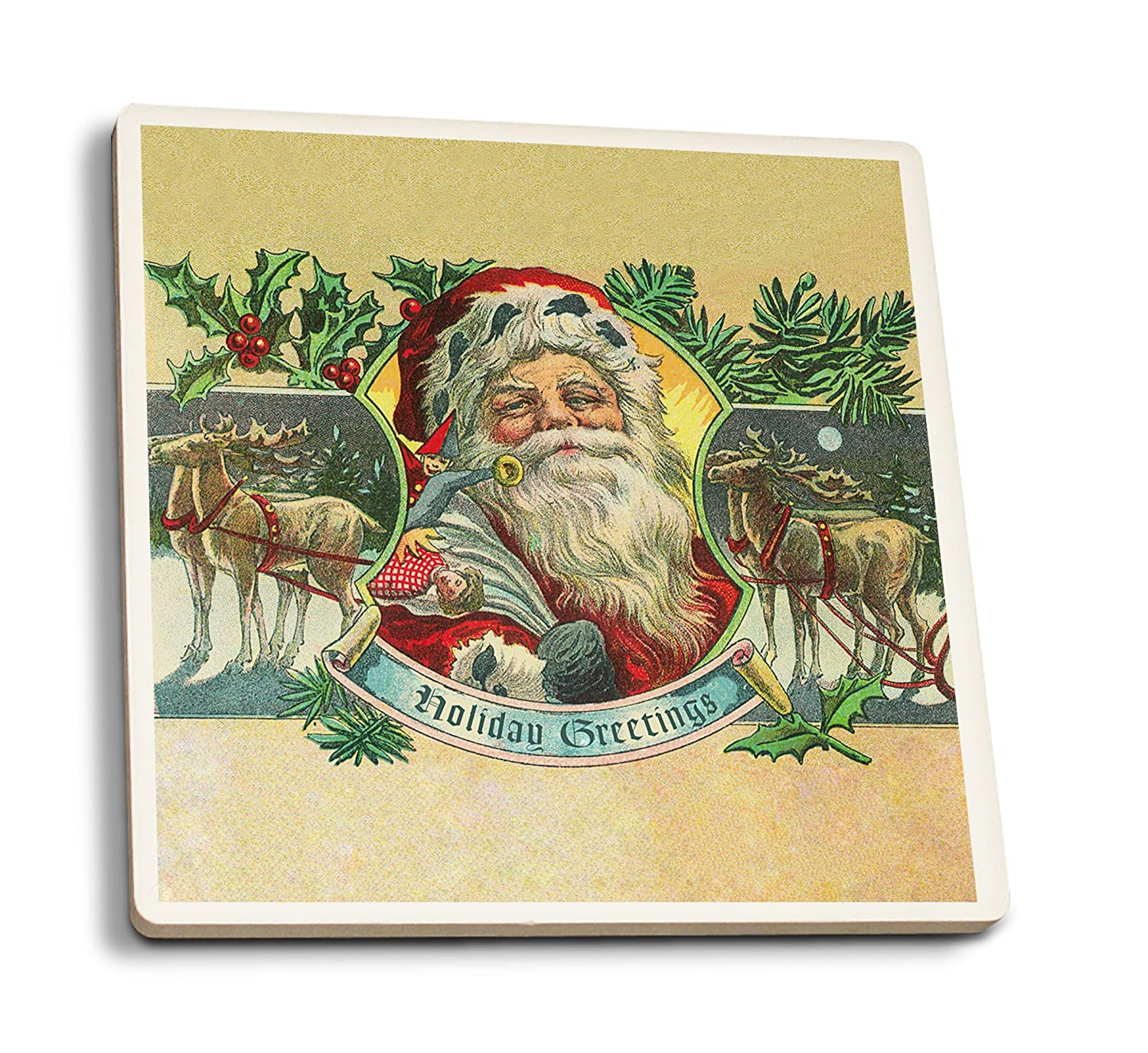 Holiday Greetings – サンタとトナカイ – ヴィンテージはがき 4 Coaster Set LANT-77975-CT B01N3YCQPI  4 Coaster Set