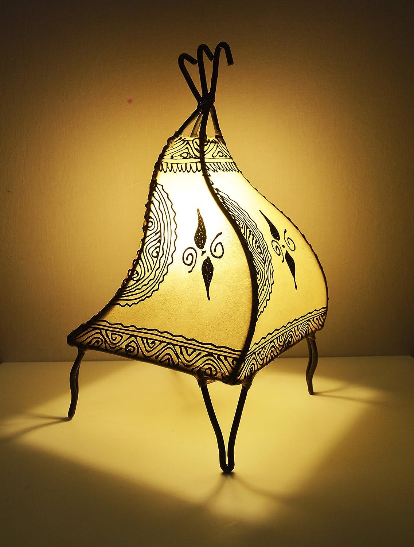 Lampara de mesa marroquí de henna- Cuadrada color crema 38 cm ...