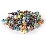 BRCbeads Top Quality 100Pcs Mix Silver Plate STYLE4 Murano Lampwork European Glass Crystal Charms Beads Spacers Fit Troll Chamilia Carlo Biagi Zable Snake Chain Charm Bracelets.