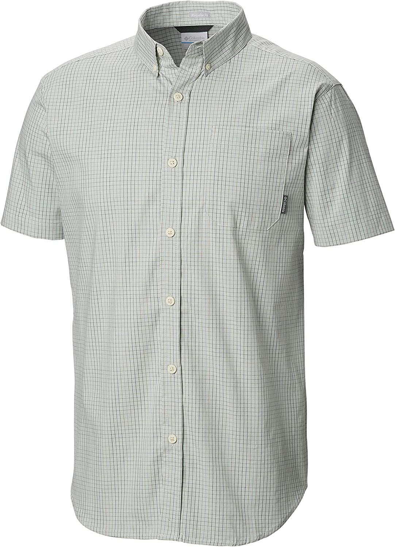 Columbia Mens Rapid Rivers II Short Sleeve Plaid Shirt Small Green Comfort Stretch