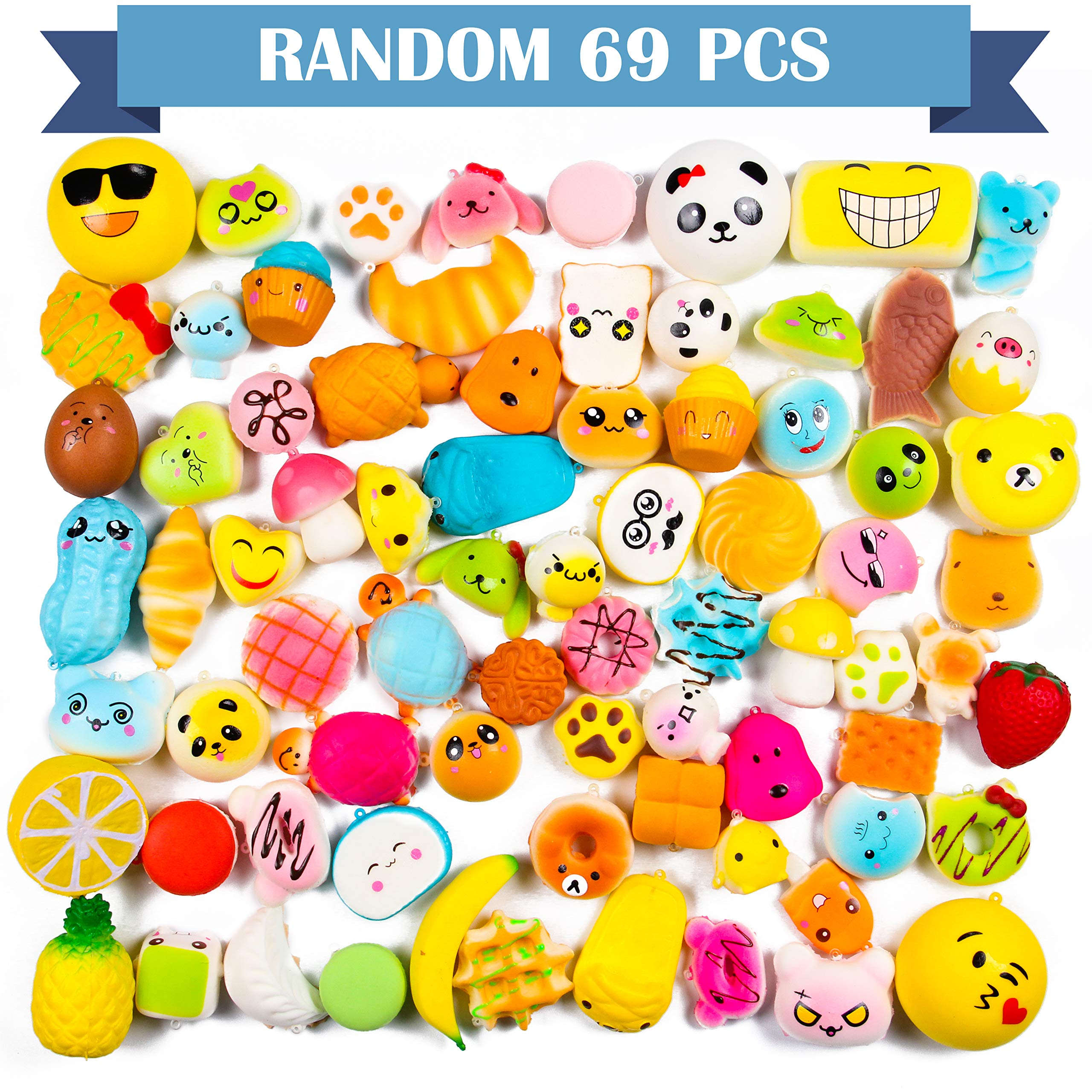 WATINC Random 70 Pcs Squishies, Birthday Gifts for Kids Party Favors, Slow Rising Simulation Bread Squishies Stress Relief Toys Goodie Bags Egg Filler, Keychain Phone Straps, 1 Jumbo Squishies include by WATINC (Image #4)