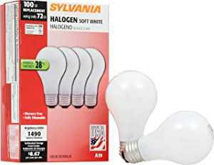 SYLVANIA Home Lighting 52258 Halogen Bulb, A19-72W-3000K, Soft White Finish, Medium Base, Pack of 4