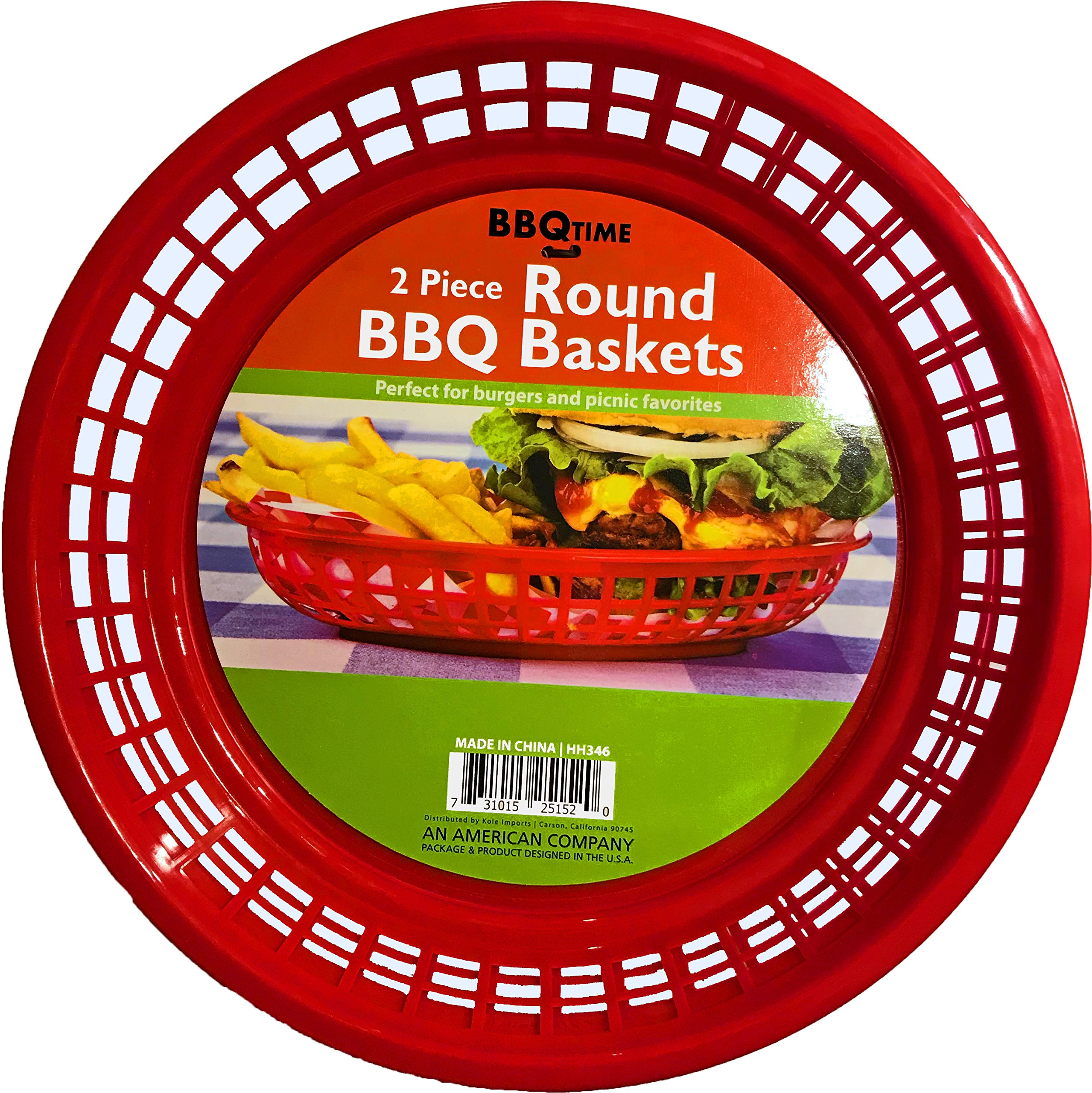 Black Duck Brand 9.5-Inch Round Plastic BPA Free BBQ Food Burger Restaurant Picnic Food Baskets (Red; 10 Baskets)
