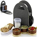 ATMAN Stainless Steel 3 Container and 1 Casserole Set with Plastic Bottle Microwave-safe Lunch Box with Bag for Adults and Kids (Grey)