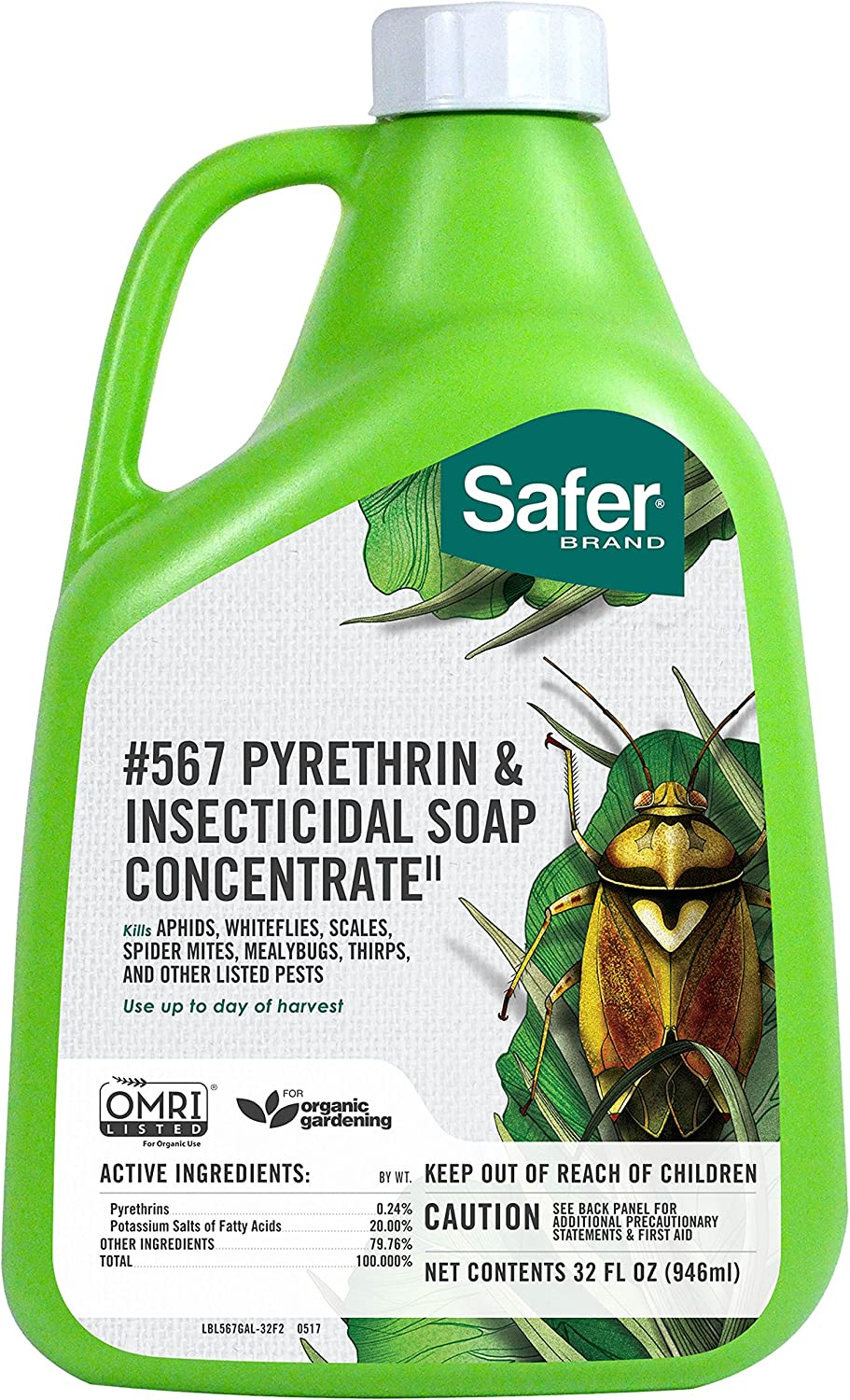 Safer Brand Insecticidal Soap & Pyrethrin Concentrate, 32-Ounce