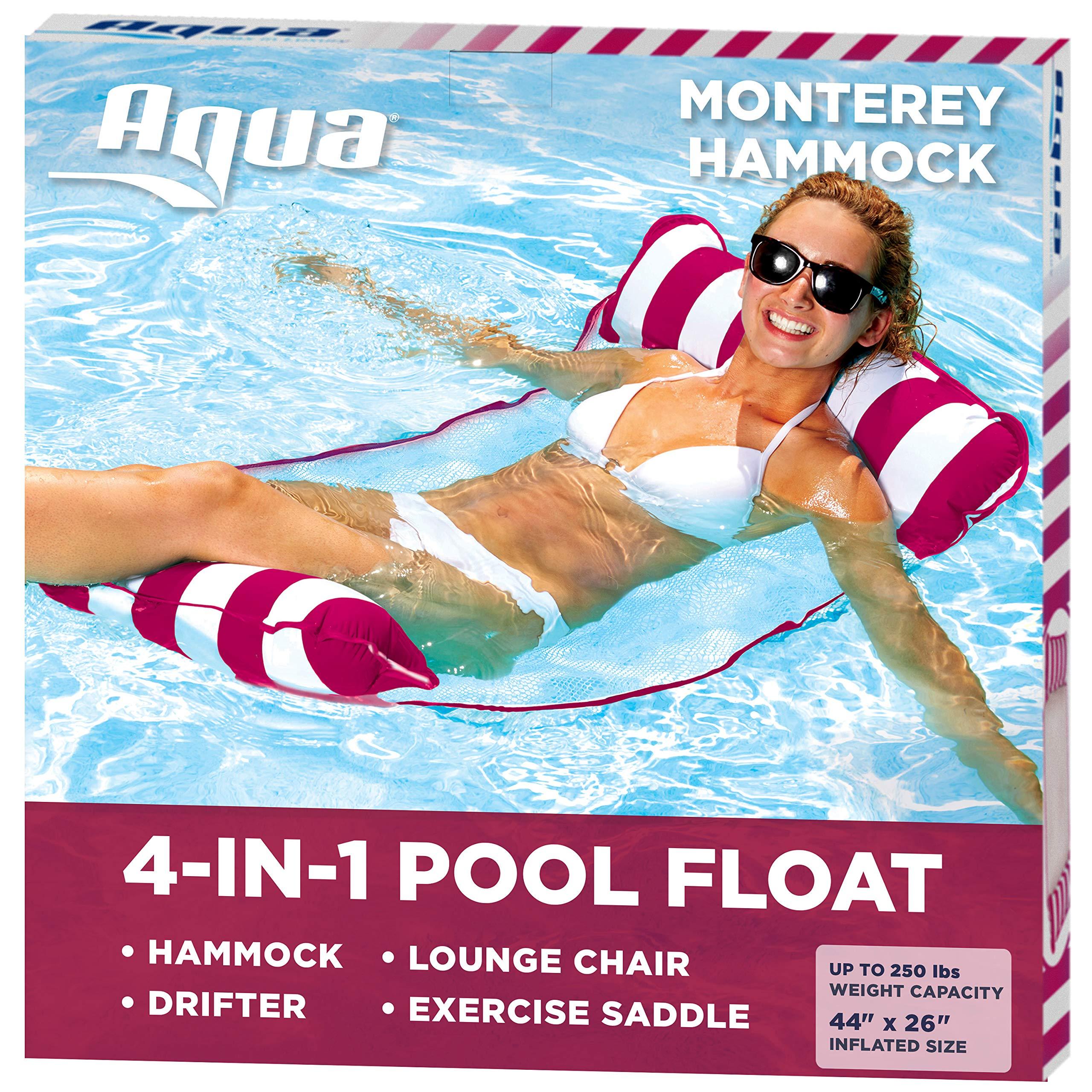 AQUA 4-in-1 Monterey Hammock Inflatable Pool Float Multi-Purpose Pool Hammock (Saddle Lounge Chair Hammock Drifter) Pool Chair Portable Water Hammock Burgundy/White Stripe
