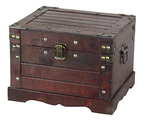 Amazon Com Decorative Gifts Old Style Wooden Chest In Antique