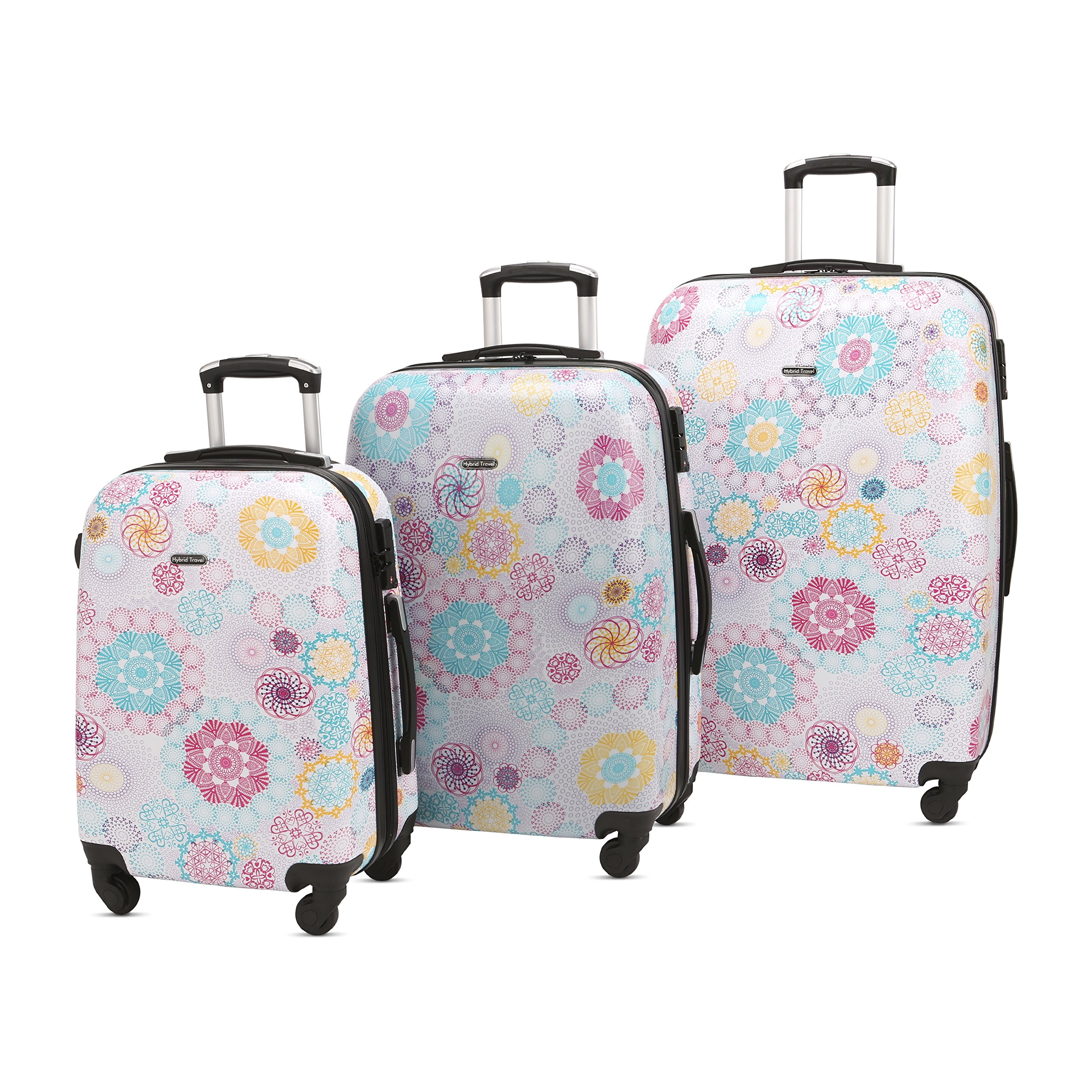3 Piece Luggage Set Durable Lightweight Hard Case pinner Suitecase 20in24in28in LUG3 PC74 flower circle