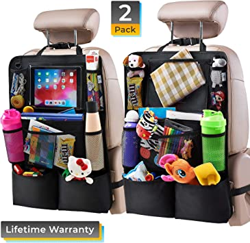 5 Storage Pockets Kick Mats Car Seat Back Protectors Great Travel Accessories for Kids and Toddlers Car Storage Organizer Backseat Cover Protector Kicking Mats With Clear 10 Tablet Holder