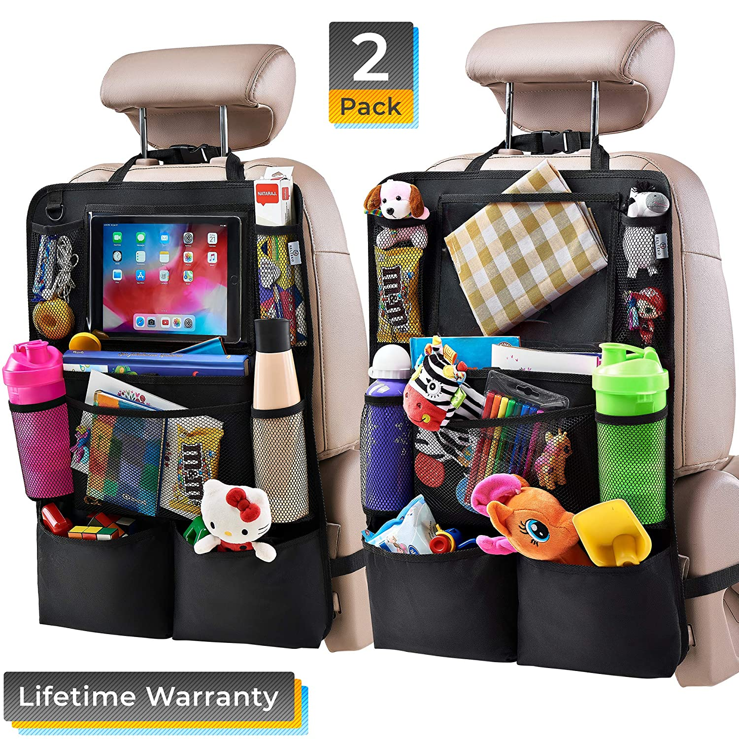Car Back Seat Organizer for Kids 2 Pack Car Travel Accessories Kick Mats Back Seat Protector with 10 Tablet Holder Helteko Backseat Car Organizer Kick Mat with 8 Storage Pockets