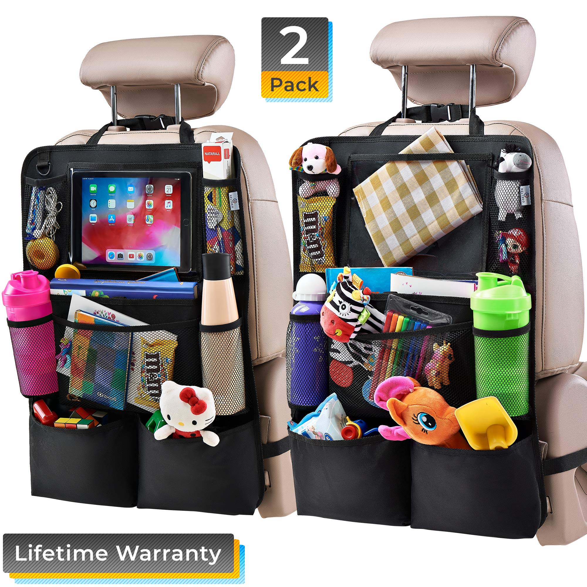 Helteko Backseat Car Organizer - Kick Mats Back Seat Protector with 10'' Tablet Holder - Car Back Seat Organizer for Kids - Car Travel Accessories - Kick Mat with 8 Storage Pockets (2 Pack) by H Helteko