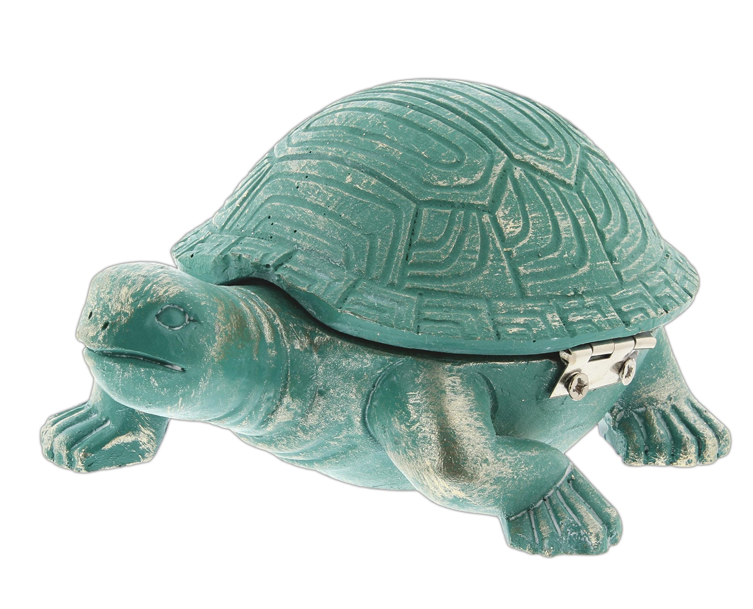 Fancy That 4.5'' Turquoise Resin Sea Turtle Trinket Box with Hinged Shell Lid