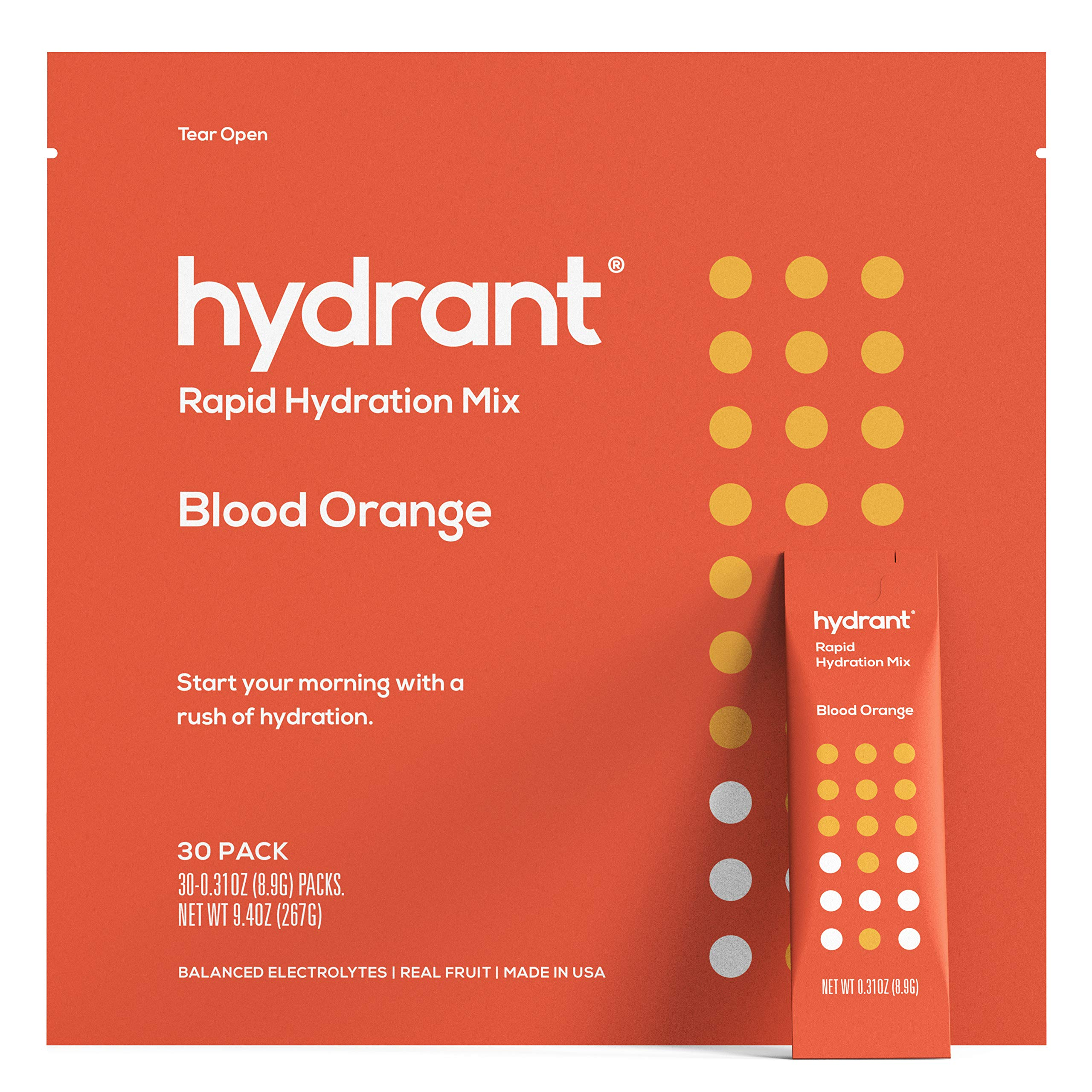 Hydrant Blood Orange Rapid Hydration Mix Version 2 | Electrolyte Powder | Dehydration Recovery Drink Blend | Simple Ingredients | Vegan | 30pk by HYDRANT