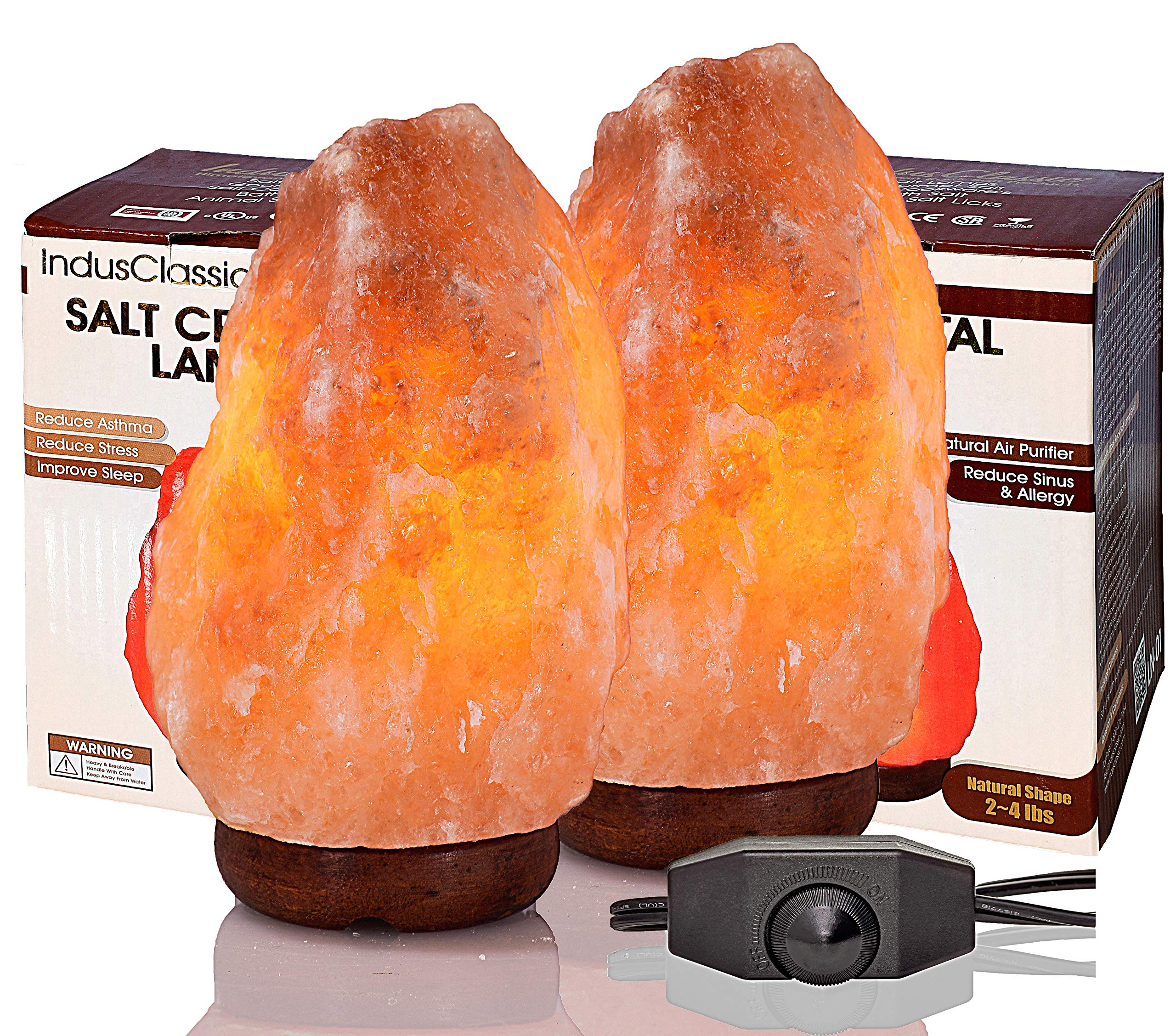 IndusClassic Pack of 2 Natural Himalayan Crystal Rock Salt Lamp Ionizer Air Purifier 2~4 lbs/UL Listed Cord and Dimmer Control Switch, Exceptional Quality Packaging by IndusClassic