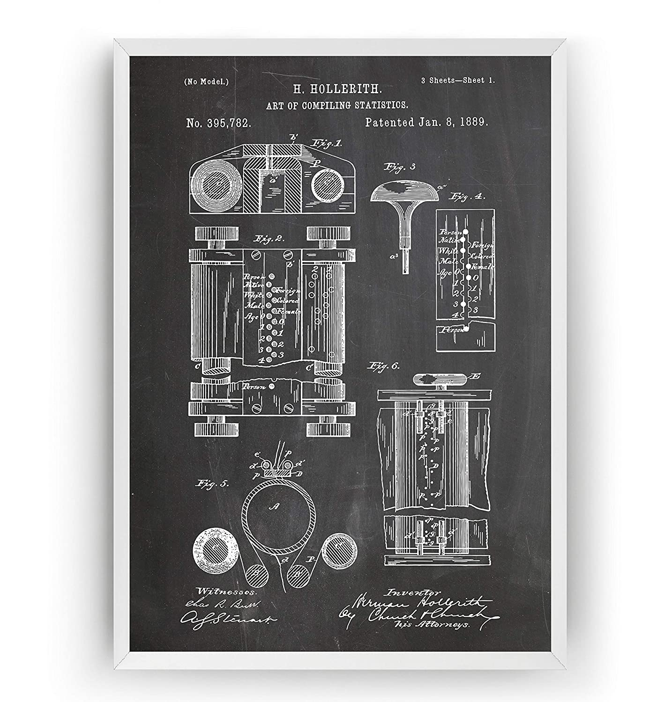 Máquina de Hollerith 1889 Poster de Patente - Patent Póster Con Diseños Patentes Decoracion de Hogar Inventos Carteles Prints Wall Art Posters Regalos Decor Blueprint - Marco No Incluido