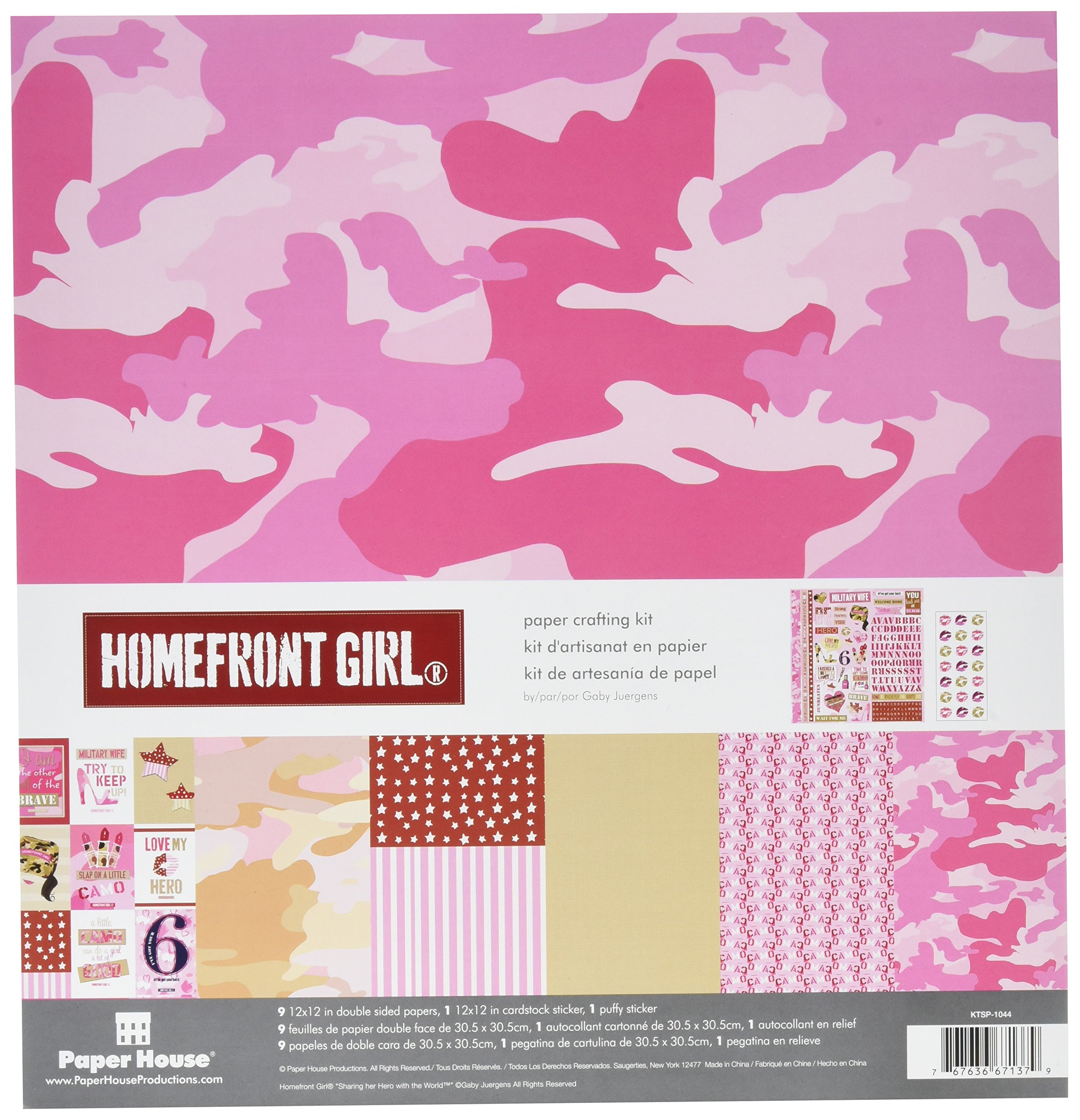 Paper House Productions KTSP-1044E Paper Crafting Kit, Homefront Girl Pink Camo (3-Pack)