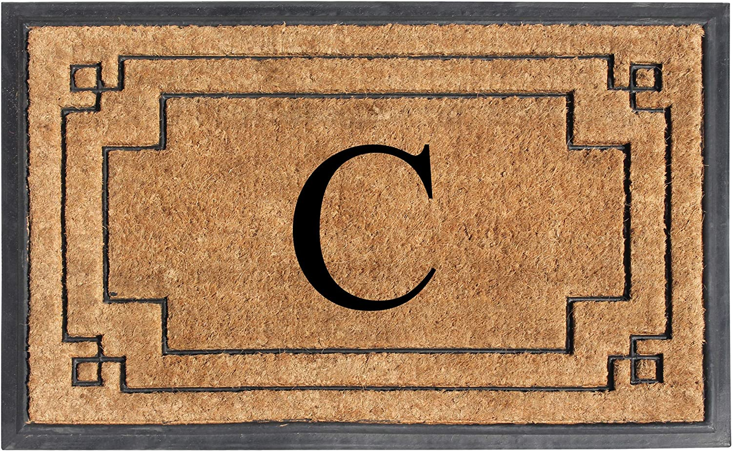 "A1 HOME COLLECTIONS A1HOME200128-C A1HC-Designer Hand-Crafted Rubber & Coir Frame Molded Double Door Mat, Perfect and More Functional Size 24""X36"" Monogrammed, C"
