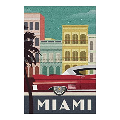 Miami - Buildings and Vintage Car - Vector (Premium 1000 Piece Jigsaw Puzzle for Adults, 20x30, Made in USA!): Toys & Games