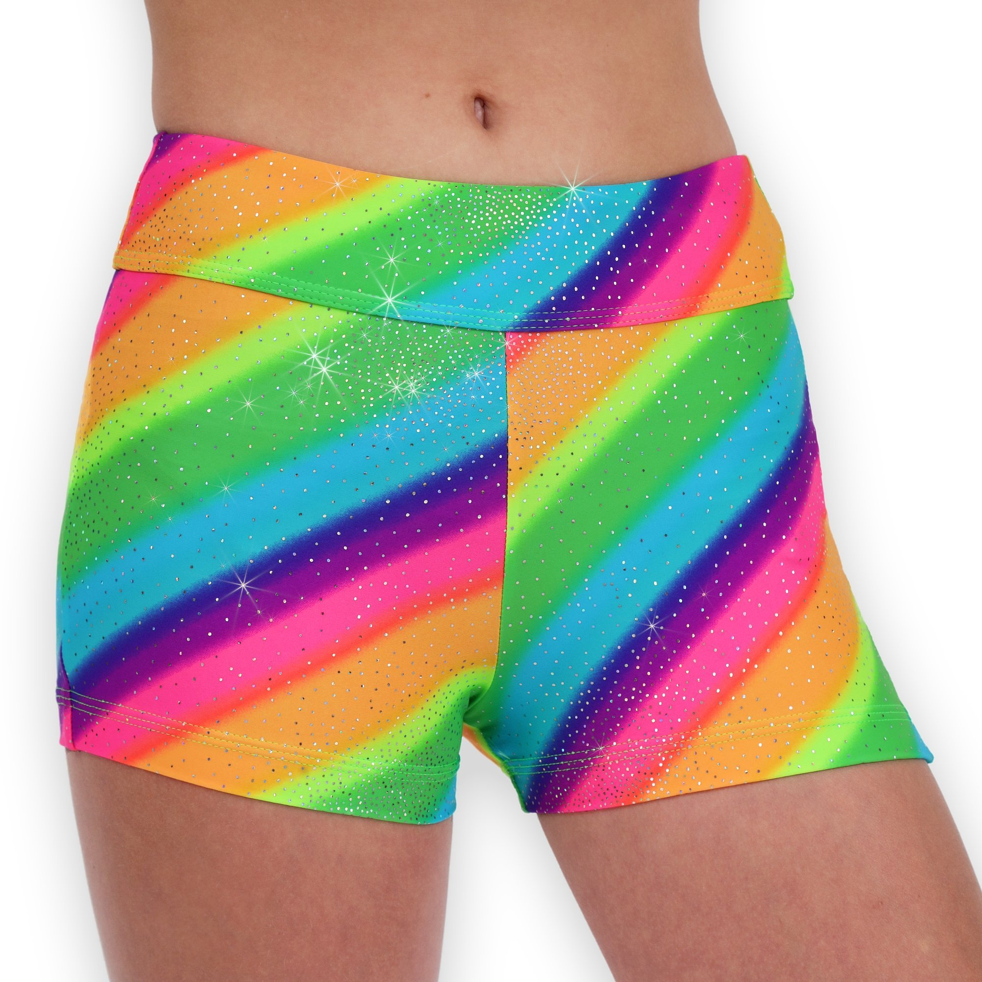 Leap Gear Gymnastics and Dance Shorts - Rainbow Sparkle - A Large by Leap Gear