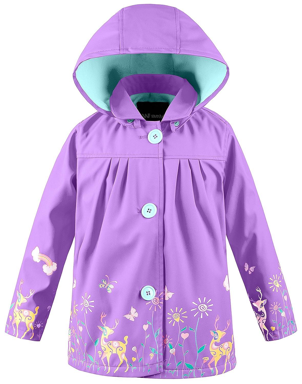 Wantdo Unisex Kinder Mädchen Leicht Abnehmbare Kapuzen-Regenmantel Bedruckt Regenjacke