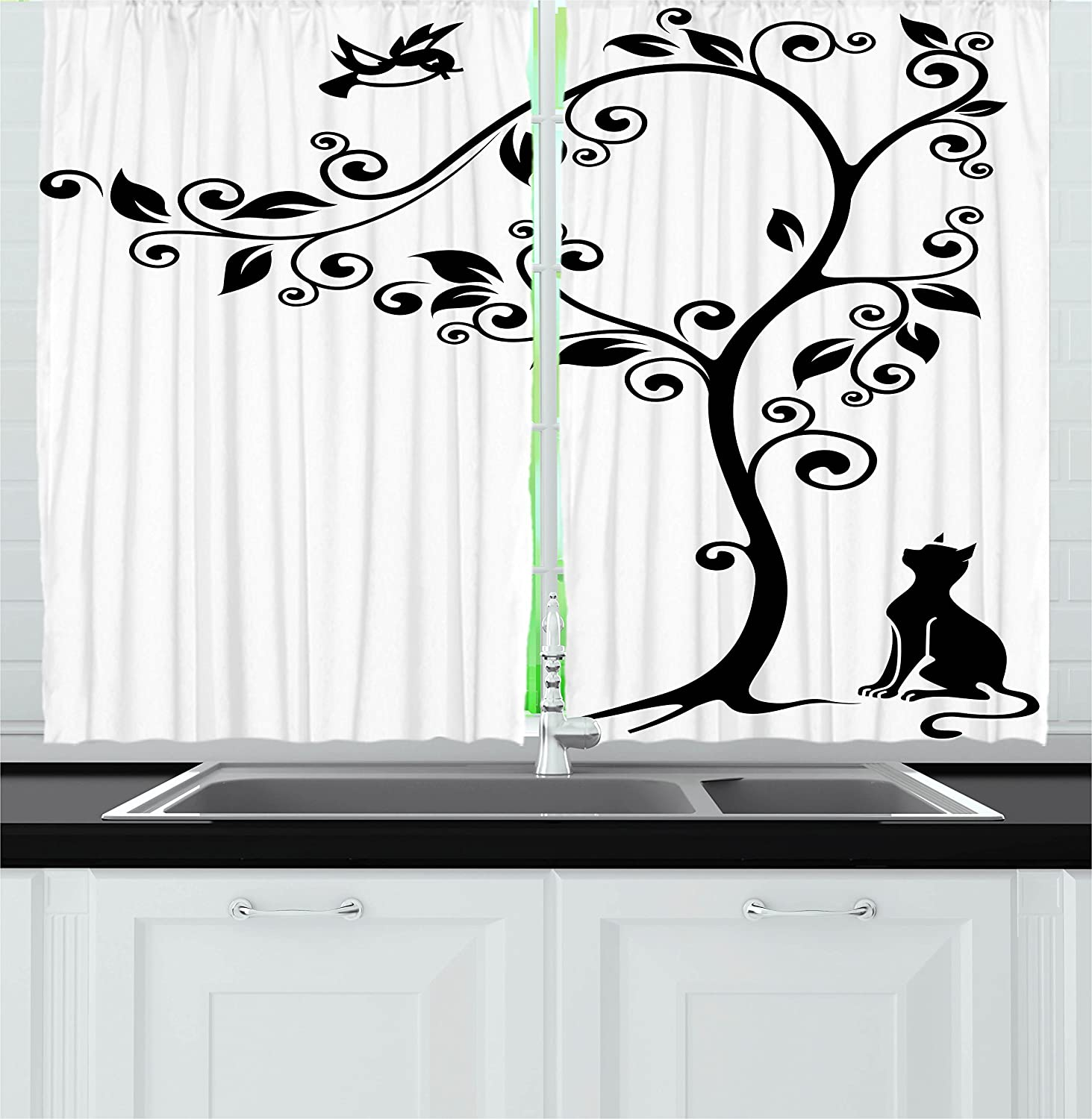 Ambesonne Cat Decor Kitchen Curtains, Silhouette of Cute Kitty Under Tree and Birds on Swirled Branches Illustration, Window Drapes 2 Panels Set for Kitchen Cafe, 55W X 39L Inches, Black White