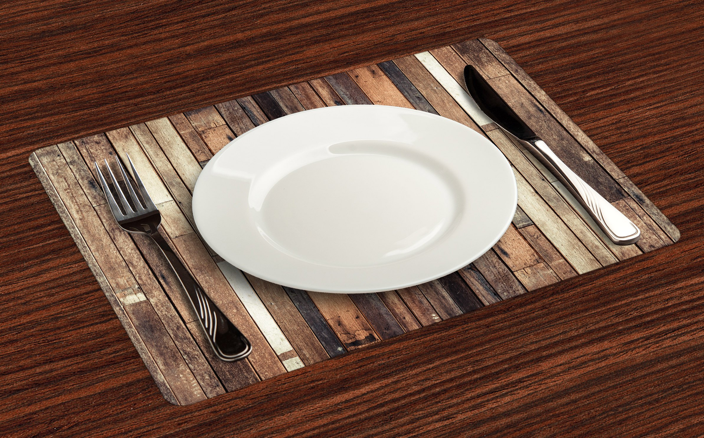 Ambesonne Wood Print Placemats Set of 4, Brown Old Hardwood Floor Plank Grunge Lodge Garage Loft Natural Rural Graphic Artsy Print, Washable Fabric Placemats for Dining Room Kitchen Table Decor, Brown by Ambesonne (Image #2)