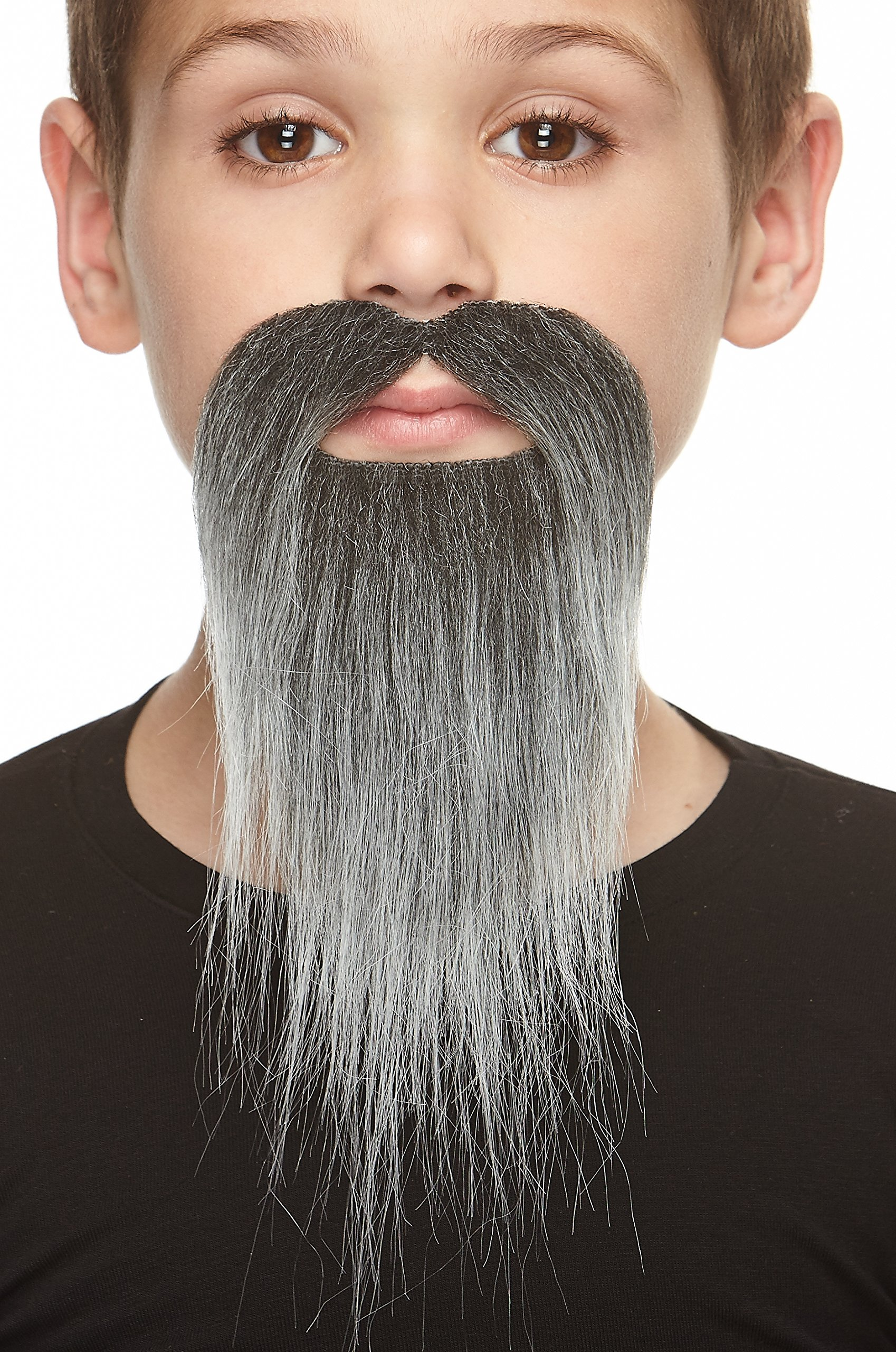Mustaches Self Adhesive, Novelty, Fake, Small Ducktail Beard, Salt and Pepper Color