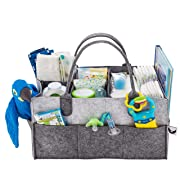 Baby Diaper Caddy Organizer - Gift Registry for Baby Shower Must Haves | Large Baby Essentials Organizer | Cute Basket for Baby Gifts for Newborn Boys Girls Twins | Versatile Stylish Design 4 Moms