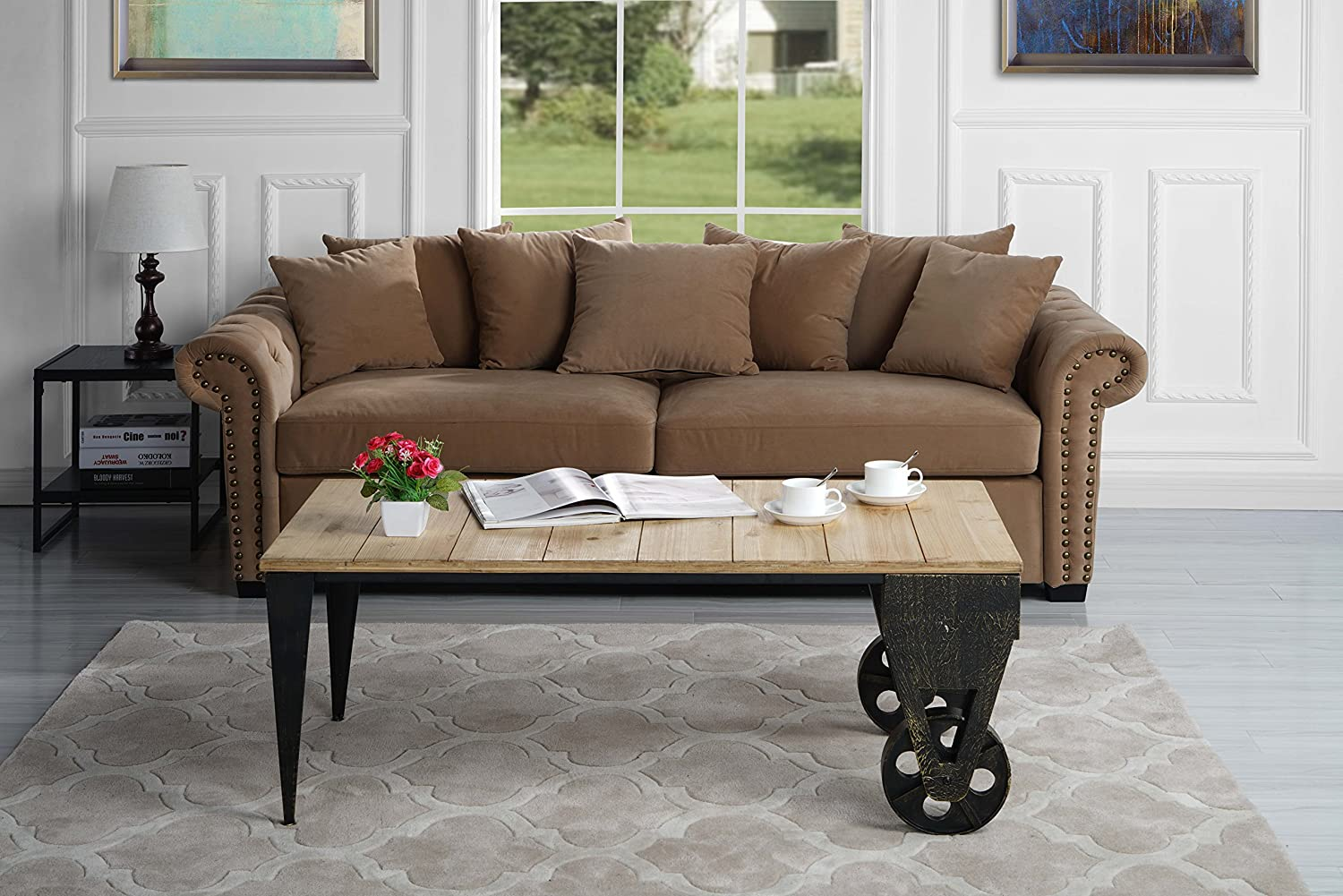 Classic Wood Plank Metal Cart Coffee Table with Casters (Light Brown)
