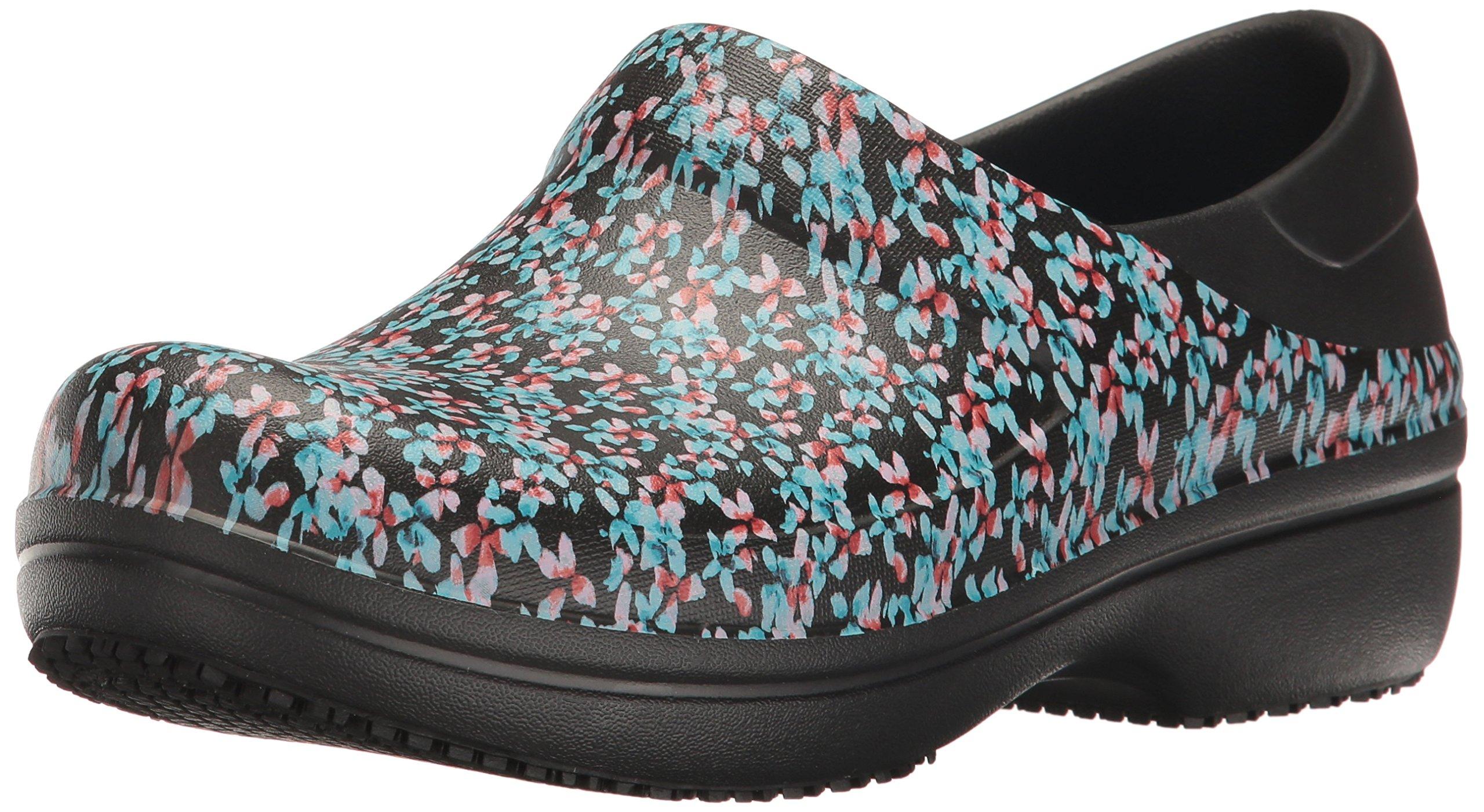 Crocs Women's Neria Pro Graphic Clog W Mule, Black/Ice Blue, 7 M US