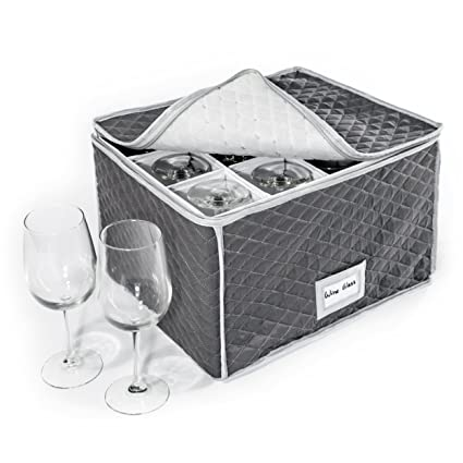 Exceptionnel StackStorePlusMore Stemware Storage Case   Quilted Fabric Container In Gray  Measuring 16u0026quot; X 13u0026quot;