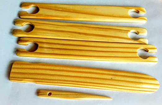 2 Pack of 14 Inch Weaving Stick Shuttles Free Weaving Needle 3 Tools Total