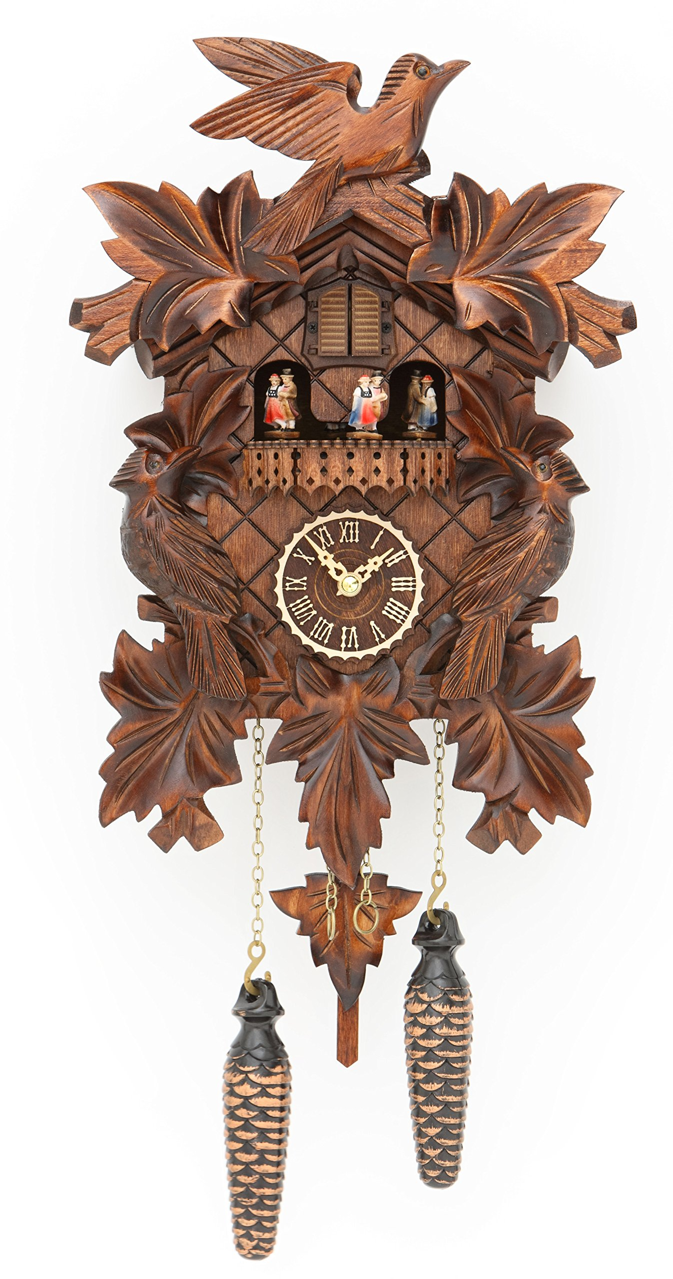 Quartz Cuckoo Clock with music 7 leaves, 3 birds, incl. batteries TU 377 QMT by Trenkle Uhren