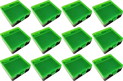 2 FREE SHIPPING MTM PLASTIC AMMO BOXES GREEN // BLACK 100 Round 38 // 357