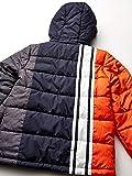 London Fog Boys' Little Color Blocked Puffer Jacket Coat with Hat,Orange Stripe New,5/6