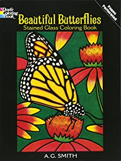 Beautiful Butterflies Stained Glass Coloring Book Dover Nature