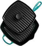 "Le Creuset Cast Iron Panini Press and Signature Square Skillet Grill Set, 10 1/4"", Caribbean"