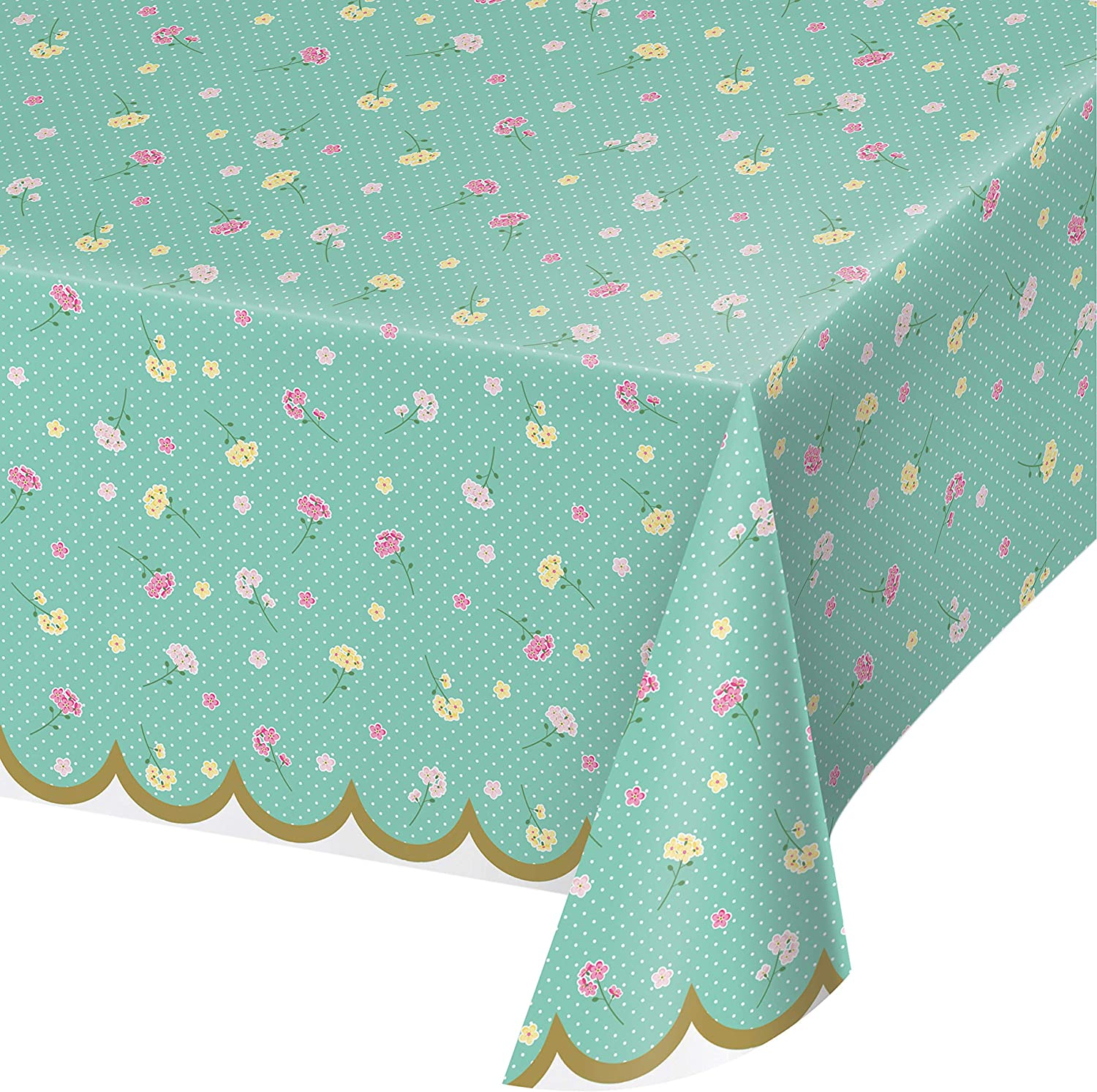 Creative Converting Floral Tea Party Plastic Tablecloth, 1 ct, Multi-colored, 54